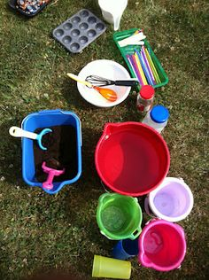 Mud Pie Station!!  I should do this until we actually make our Mud Kitchen
