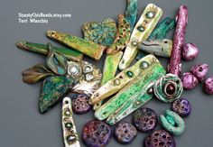 Embedding pearls, going primitive, working in rich colors.  What's not to love?  By Terri Wlaschin of ShantyChicbeads.etsy.com