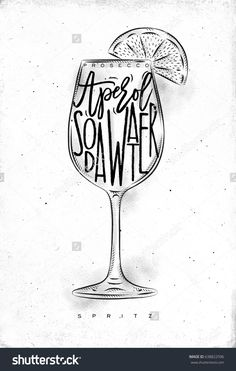 Spritz cocktail lettering prosecco, aperol, soda water, in vintage graphic style drawing on dirty paper background
