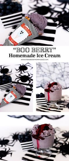 Try this creepy (and delicious!) Boo-Berry Homemade Blueberry Ice Cream for you next Halloween get together! Ice Cream Treats, Ice Cream Desserts, Ice Cream Party, Frozen Desserts, Frozen Treats, Scary Halloween Decorations, Halloween Cakes, Halloween Treats, Halloween Party