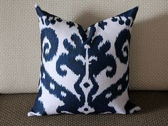 Blue Ikat Pillow Pillow Cover etsy