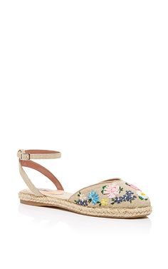 Natural Linen Embroidered Dotty Meadow Espadrille by Tabitha Simmons for Preorder on Moda Operandi