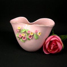 Lefton China Vase, Vintage Pink Vase, Pinched Top with Applied Flowers, Circa 1950, Cottage Chic
