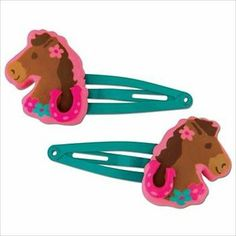 Stephen Joseph Girl Horse Hair Clips Hairclips Set of 2 New on Card