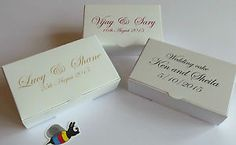 PERSONALISED x 25 Wedding Favour Cake Boxes 100x60x30mm ** only £5.89 **   eBay