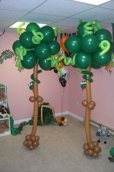 Balloon trees. Hours of fun for kids - if you are game to have a go - make balloon trees with your kids and leave them around the house and hang different zoo animals in them on different days! Great natural language teaching in context and great fun!