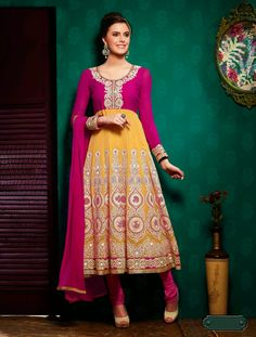 Ethnic Knee Lenght Anarkali Suit With Amazing Embroidery Work And Border