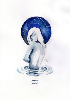 aquarius Art Print, love something like this for tat, but with a sword across her back