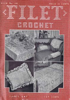 Filet Crochet Patterns VINTAGE LACE 40s Edgings Pillows Tablecloth Runners Doily