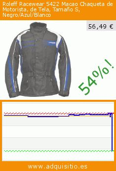 Roleff Racewear 5422 Macao Chaqueta de Motorista, de Tela, Tamaño S, Negro/Azul/Blanco (Automóvil). Baja 54%! Precio actual 56,49 €, el precio anterior fue de 121,92 €. https://www.adquisitio.es/roleff-racewear/5422-macao-chaqueta