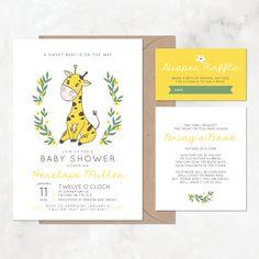 Baby Shower Banner Light Pink /& Ivory Giraffe Jungle Zoo Yellow