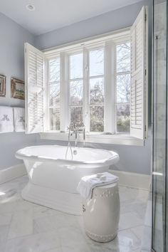 do home buyers want right now? Behold the perfect example. Master bath with stand alone tub and glass shower doors.Master bath with stand alone tub and glass shower doors. Bath Window, Bathroom Windows, Bathroom Renos, Budget Bathroom, Bathroom Renovations, Bathroom Interior, Master Bathrooms, Home Windows, White Bathrooms