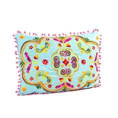 Pompom Embroidery Pillow Blue