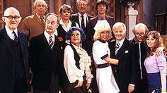 Cast of late 1981. (left to right): (top) Arthur English, Wendy Richard, Benny Lee, Mike Berry; (bottom) Nicholas Smith, Frank Thornton, Mollie Sugden, Vivienne Johnson, John Inman, Kenneth Waller, Louise Burton