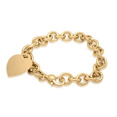 14k Yellow Gold Heart Tag  Bracelet