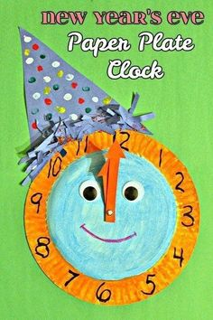 New Year's Eve Paper Plate Celebration Clock - craft for kids Daycare Crafts, Classroom Crafts, Crafts For Kids, New Year Clock, New Year Art, New Year's Eve Crafts, Holiday Crafts, New Year's Eve Activities, Kids New Years Eve