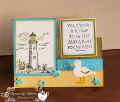 Lighthouse by - Cards and Paper Crafts at Splitcoaststampers Flip Cards, 3d Cards, Pop Up Cards, Folded Cards, Side Step Card, Stepper Cards, Nautical Cards, Shaped Cards, Step Up