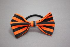 Halloween Black and Orange Striped Bow Hair Band by LittlePeachFuzz, $3.00