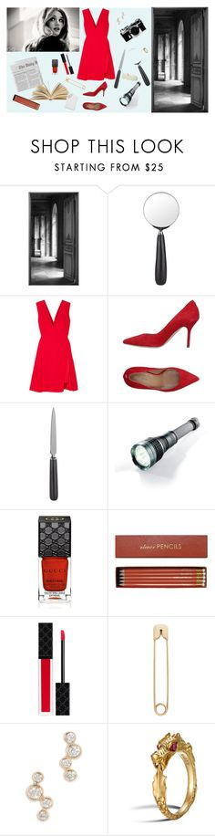 """""""do not open this door"""" by mvr-nov ❤ liked on Polyvore featuring Maison Margiela, Cedes, Nikon, Versace, Dsquared2, Frontgate, Gucci, Sloane Stationery, Era and John Hardy"""