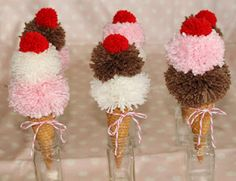 ice cream cones made from yarn and pom pom maker