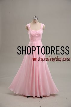 Long bridesmaid dress chiffon, Strap Wedding bridesmaid dress, Cheap pink prom dress, Homecoming Party dress custom size