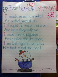 Perfect snowman poem- use with winter theme week Winter Activities, Classroom Activities, Classroom Ideas, Classroom Signs, Preschool Winter, Winter Fun, Winter Theme, Winter Ideas, Winter Songs