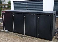 Mülltonnenbox in elegantem schwarz und Edelstahl-Griffen