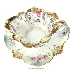 Antique Hand Panted RS Prussia Roses Sauce Boat and Underplate