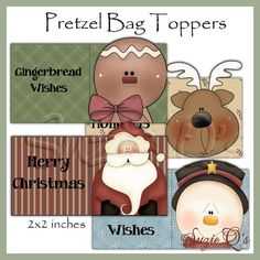 Christmas Pretzel Bag Toppers set of 4  Digital by SuzieQsCrafts, $1.50