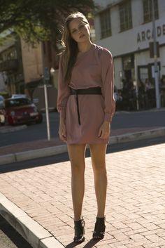 Batwing Sleeve Dress in Dusty Pink & Black Leather Wrap Belt Batwing Sleeve, Bat Wings, Cape Town, Dusty Pink, Pink Black, Black Leather, Dresses With Sleeves, Belt, Shirt Dress