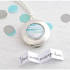 Cassiopi Photography Personalised Secret Message Ocean Locket Necklace ($29) ❤ liked on Polyvore featuring jewelry, necklaces, mini necklace, locket necklace and locket jewelry
