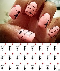 Girl With Heart Balloon Water Slide Nail Art Decals  Salon Quality  Great for Valentines Day * You can get more details by clicking on the image.