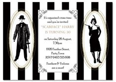 Gangster Birthday Invitations - Invitations - THEMED - Birthday. ONLY $1:00 EACH! Check out all our 1920's inspired invites at www.paperdivas.com.au