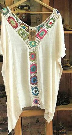 Crochet Fabric, Crochet Tunic, Crochet Tablecloth, Thread Crochet, Crochet Clothes, Crochet Top, Crochet Patterns, Hippie Crochet, Sewing Pants