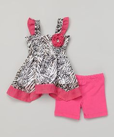 Dark Pink Chiffon Tank & Shorts - Infant