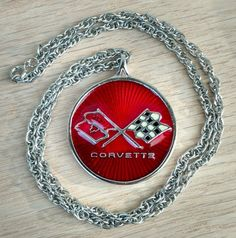 "Corvette Logo Pewter Necklace 1980s Medallion Pendant 23"" Chain Collectors Case 