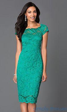 Dresses, Formal, Prom Dresses, Evening Wear: Knee Length Lace Semi Formal Dress 6933