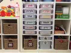 trofast bins in expedit/kallax (build side panels with slides) - Schuh aufbewahrung Baby Room Storage, Toy Storage Bags, Kids Storage, Storage Hacks, Storage Solutions, Playroom Storage, Smart Storage, Makeup Storage, Kitchen Storage