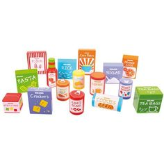 Brilliant collection of toy groceries from BigJigs. Contains lots of familiar items from your weekly food shop. Great addition to any play shop or kitchen. Play Kitchen Sets, Kitchen Shop, Toy Kitchen, Kidkraft Kitchen, Wooden Play Food, Wooden Baby Toys, Cracker Cookies, Coffee Mix, Toddler Girls