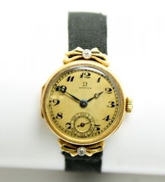 Elegant-Vintage-Early-20c-Omega-18k-Gold-Diamond-Ladies-Watch-Wristwatch