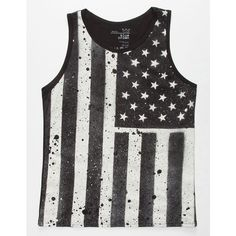 Blue Crown Merica Mens Tank (12.160 CLP) ❤ liked on Polyvore featuring men's fashion, men's clothing, men's shirts, men's tank tops, men, tops, shirts, black, mens american flag shirt and mens panel shirts