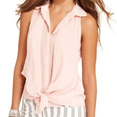Guess pink sleeveless tie sheer blouse In excellent condition. Worn once! Size medium. Guess Tops Blouses