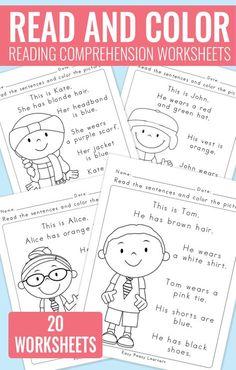 Read and Color Reading Comprehension Worksheets for Grade 1 and Kindergarten