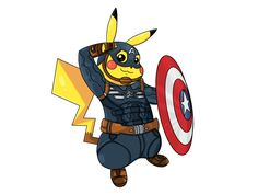 PikAvengers assemble!   Just submitted this work to RedBubble as a design for things such as shirts, stickers, pillows, bags, mugs, and more: http://www.redbubble.com/people/redmedkit/works/19099670-captain-americhu