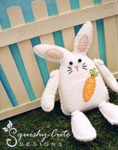 Bunny Sewing Pattern PDF  Stuffed Animal door SquishyCuteDesigns