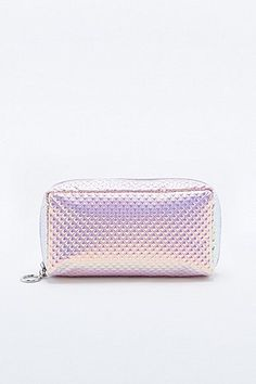 Shop Deena & Ozzy Pyramid Holographic Cosmetics Case at Urban Outfitters today. Urban Outfitters, Travel Cosmetic Bags, Cosmetic Case, Pusheen Backpack, Holographic Fashion, Pencil Bags, Girls Bags, Toiletry Bag, Outfits