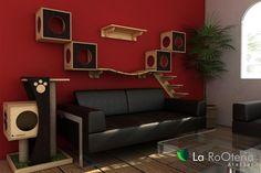 Sala com módulos para gatos com arranhador, escada, toca, ponte e prateleira