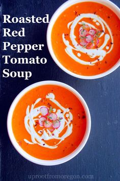 This Roasted Red Pepper Tomato Soup is a perfect vegan soup recipe for ...
