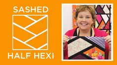 "Make a ""Sashed Half Hexi"" quilt with Jenny Doan of Missouri Star (Video Tutorial) Msqc Tutorials, Quilting Tutorials, Quilting Tips, Hexagon Pattern, Hexagon Quilt, Star Quilts, Easy Quilts, Amish Quilts, Missouri Quilt Tutorials"