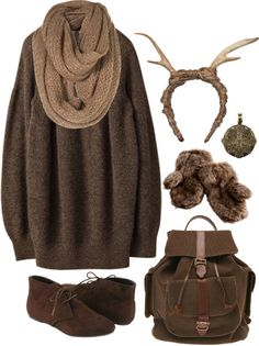 """I don't dig the antlers, but the rest is pretty cute. """"Mori Girl"""" by herimperialhighness on Polyvore"""